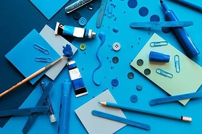 Hobby equipment in shades of blue