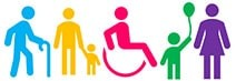 Colourful icons of a diverse group of people